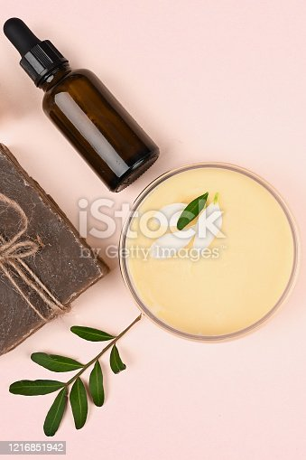 istock cosmetics and natural vegetation. anti-aging cream. Cream for skin care. for hands. for face. cosmetics for care. flat lay 1216851942