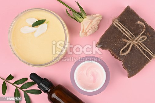istock cosmetics and natural vegetation. anti-aging cream. Cream for skin care. for hands. for face. cosmetics for care. flat lay 1216852899