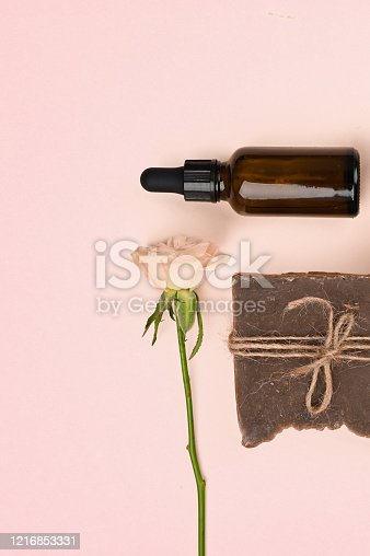 istock cosmetics and natural vegetation. anti-aging cream. Cream for skin care. for hands. for face. cosmetics for care. flat lay 1216853331
