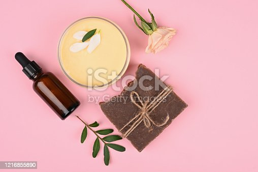 istock cosmetics and natural vegetation. anti-aging cream. Cream for skin care. for hands. for face. cosmetics for care. flat lay 1216855890