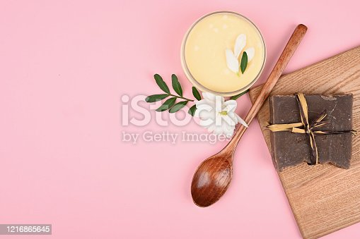 istock cosmetics and natural vegetation. anti-aging cream. Cream for skin care. for hands. for face. cosmetics for care. flat lay 1216865645