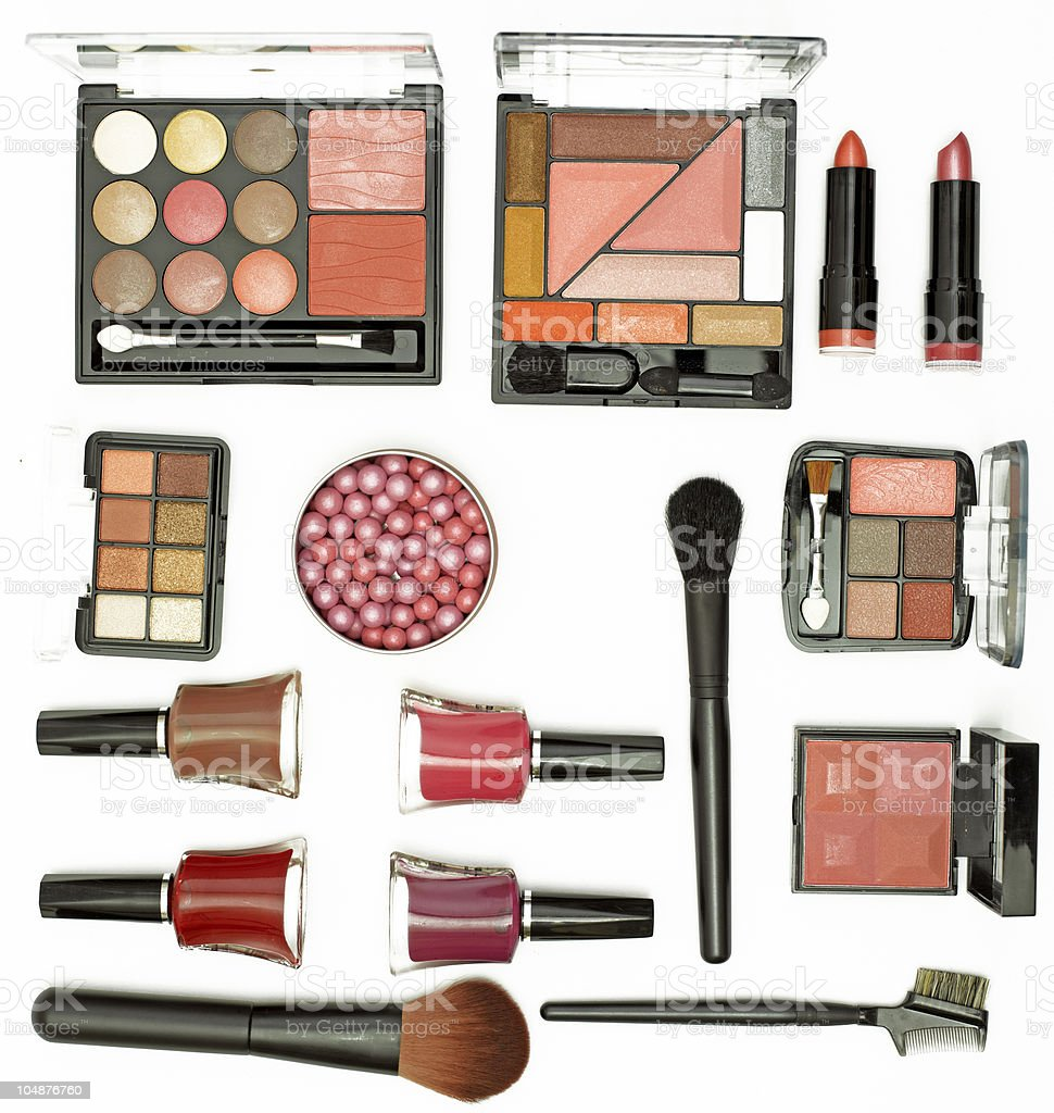 cosmetics brushes and accessories royalty-free stock photo
