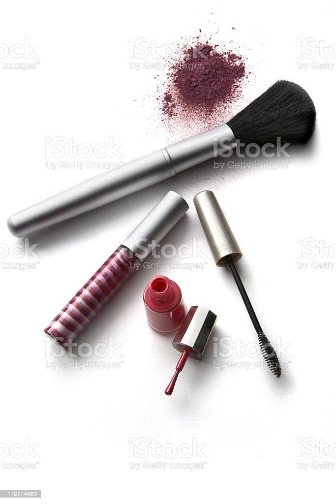Cosmetics: Eyeshadow, Brush and Mascara royalty-free stock photo