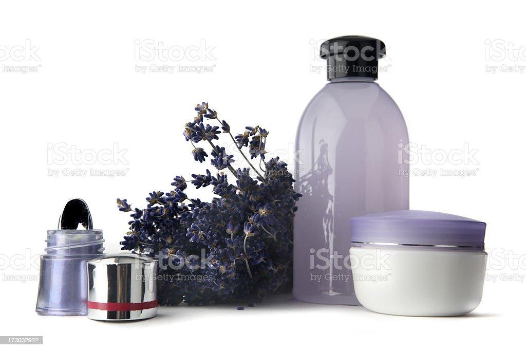 Cosmetics: Eyeshadow, Lavender, Moisturizer and Soap royalty-free stock photo
