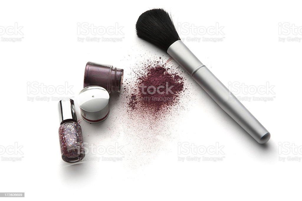 Cosmetics: Eyeshadow, Nail Polish and Brush royalty-free stock photo