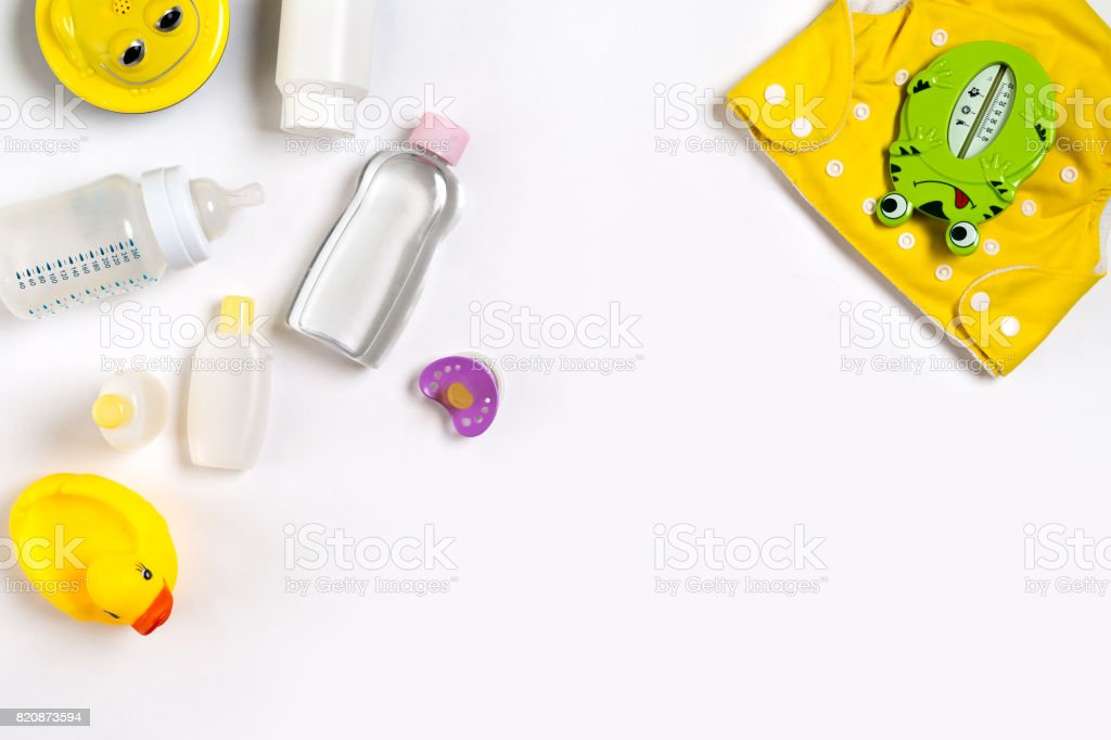 Cosmetics for newborns on a white background. Top view stock photo