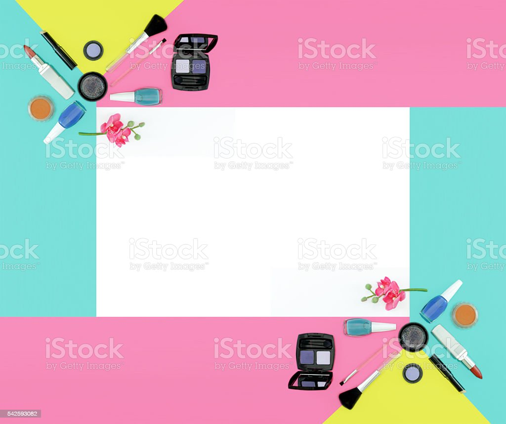 Cosmetics frame in white background stock photo