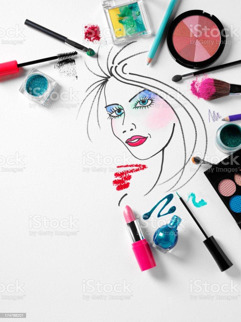 化粧品イラストの周りの女性の顔メイクアップ アイシャドウのストック