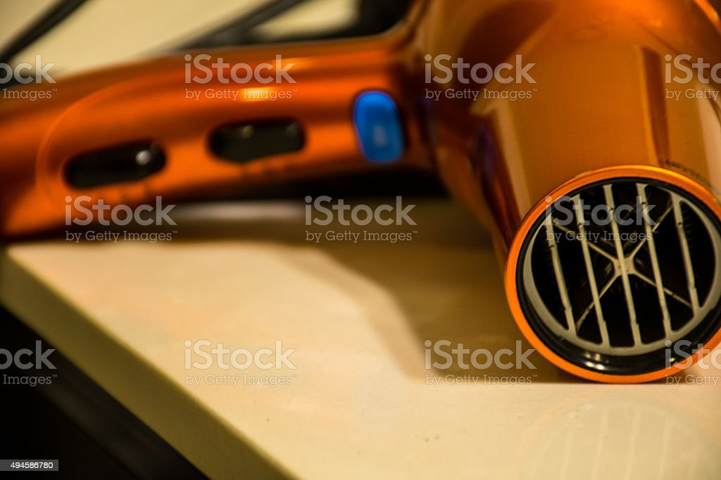 cosmetics hair dryer to blow dry your beauty woman stock photo