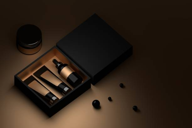 cosmetics in black and golden box - packaging foto e immagini stock