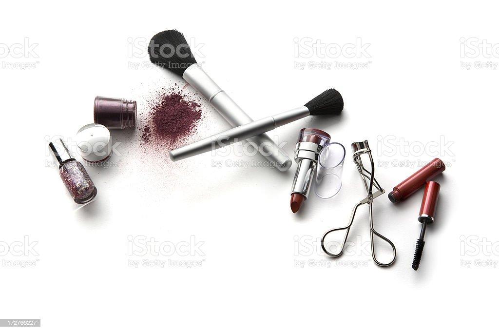 Cosmetics: Lipstick, Eyeshadow, Nail Polish, Mascara, Brushes and Eyelash Curler royalty-free stock photo