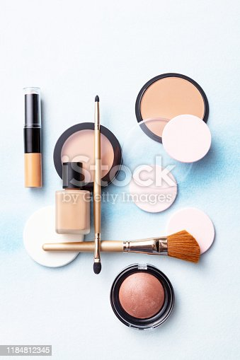 Cosmetics: Make Up Products Flat Lay Still Life