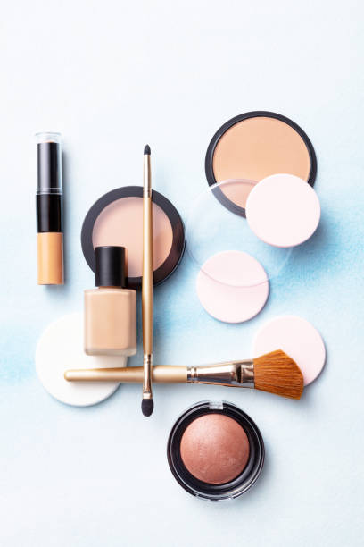Cosmetics: Make Up Products Flat Lay Still Life stock photo
