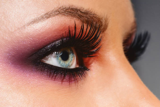 Cosmetics & make-up. Close up woman eye with beautiful shades smokey eyes makeup. Modern fashion make up. stock photo