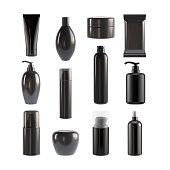 Makeup Black Packaging Set, Products Template, package , Make-Up, Moisturizer
