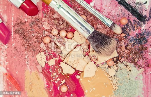1067822112 istock photo Cosmetics on a white background. Isolate. Selective focus. 1067822030