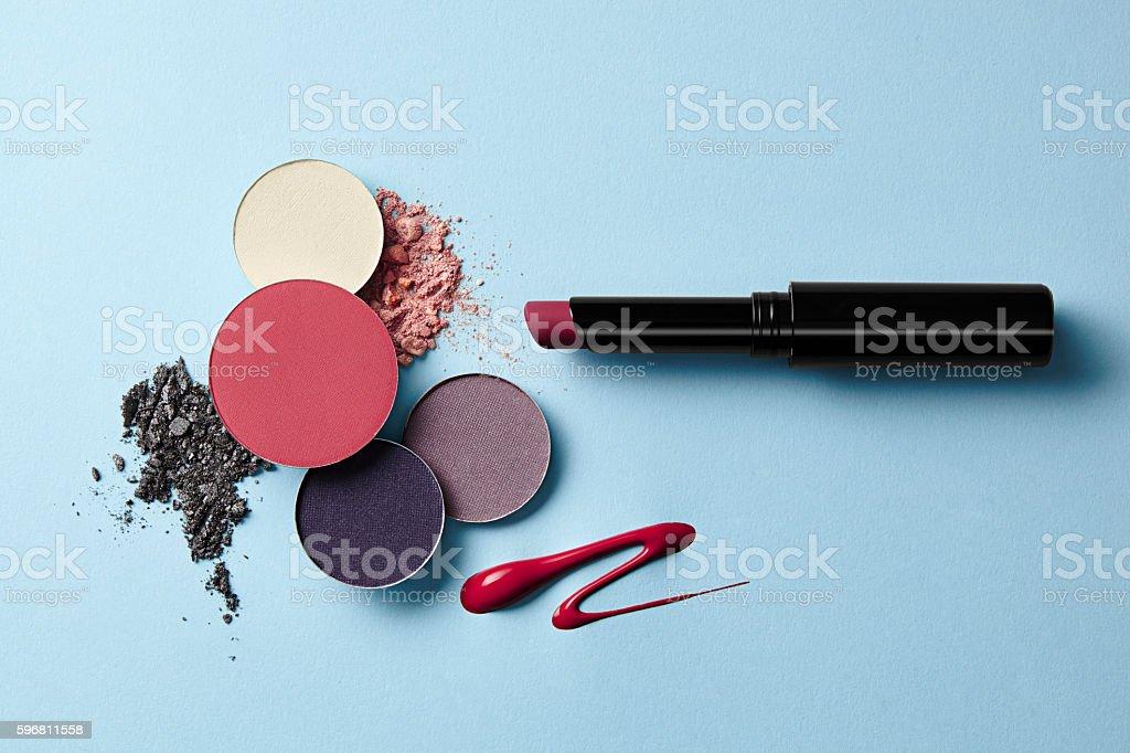 cosmetics on blue stock photo