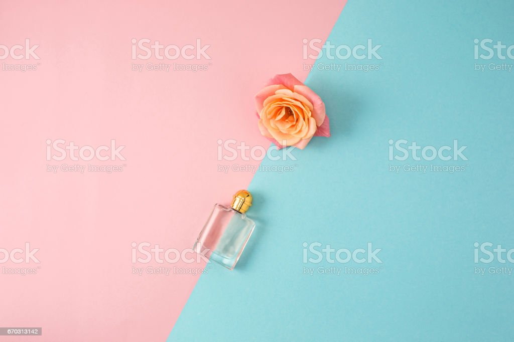 Cosmetics on modern colorful background stock photo