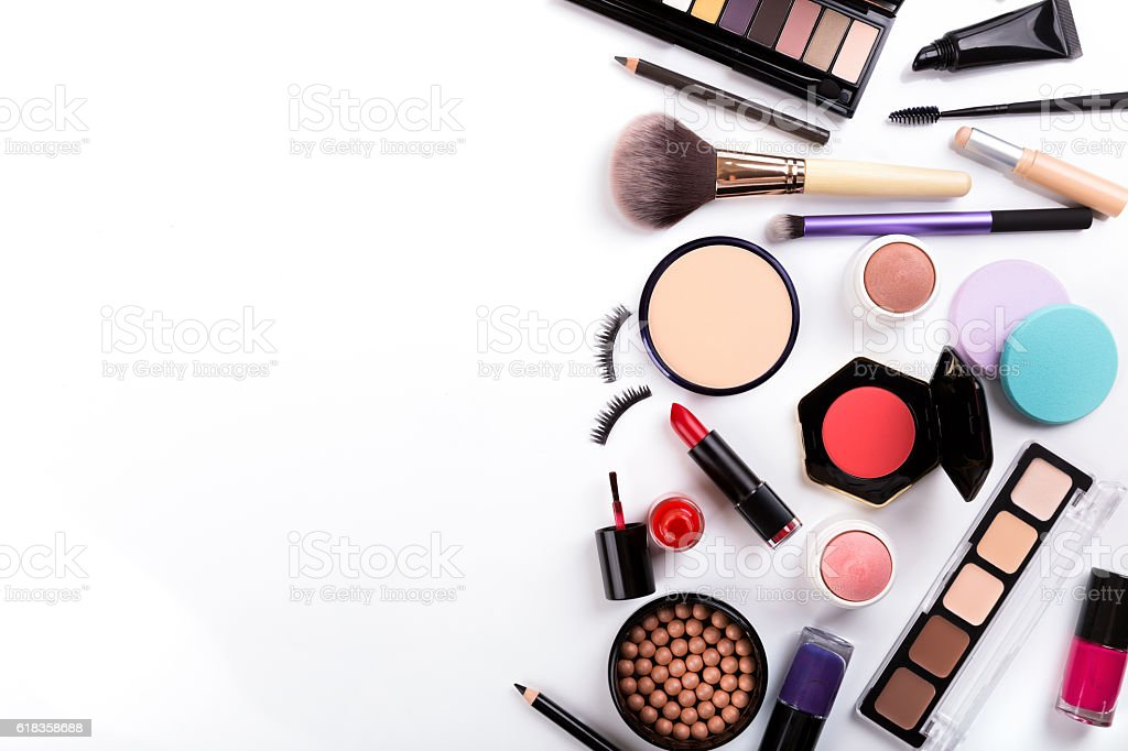 cosmetics on white with copy space – Foto