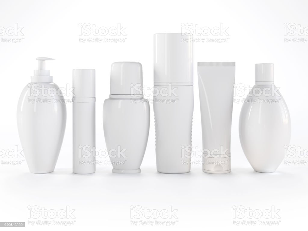 Cosmetics products on white background stock photo