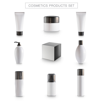 Cosmetics products package icons