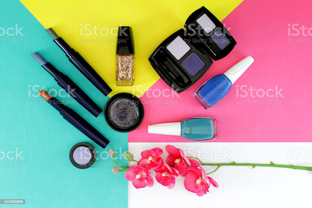 Cosmetics set with copy space stock photo