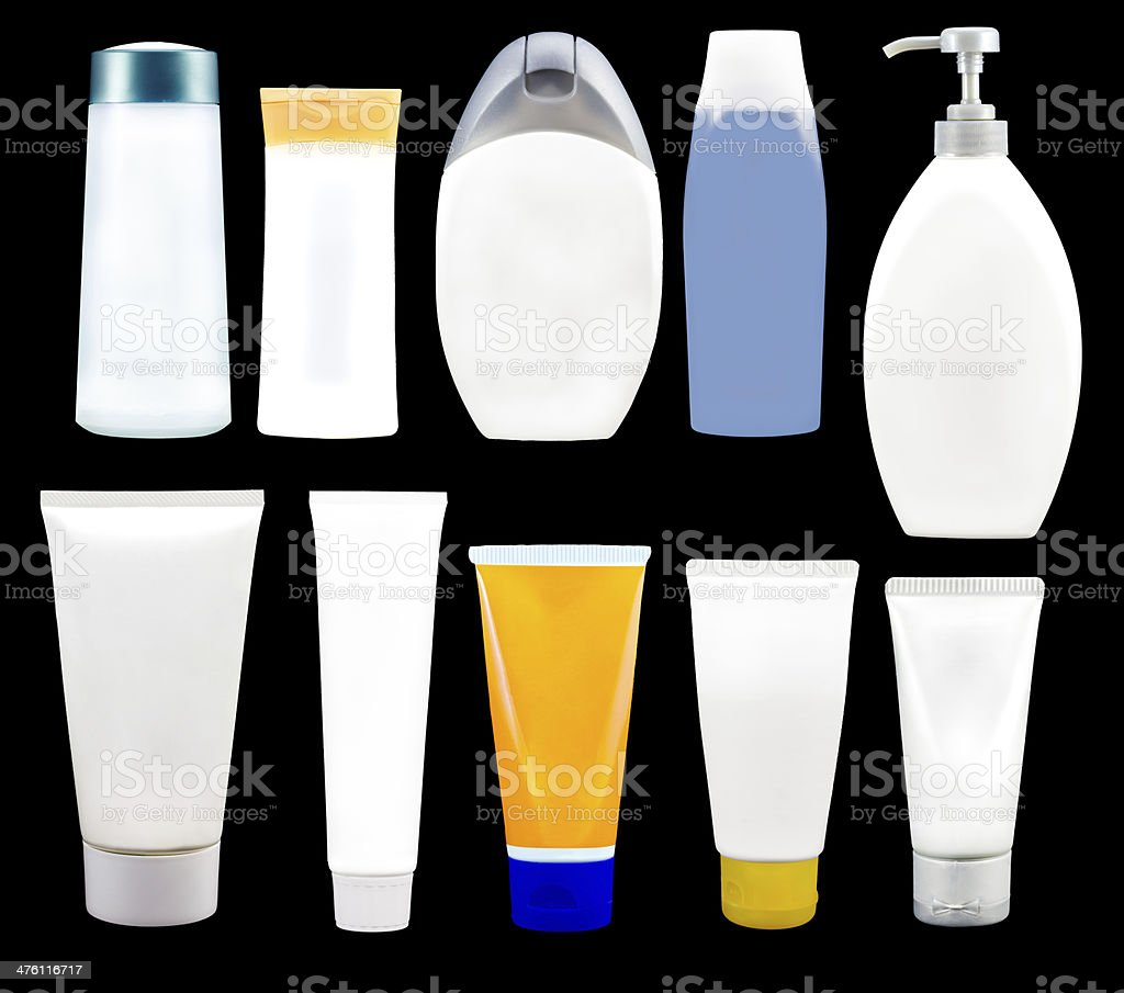cosmetics soap and gel containers royalty-free stock photo