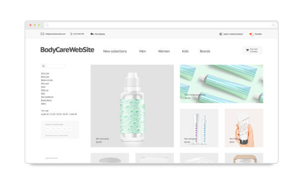 Cosmetics webstore site template mockup isolated stock photo
