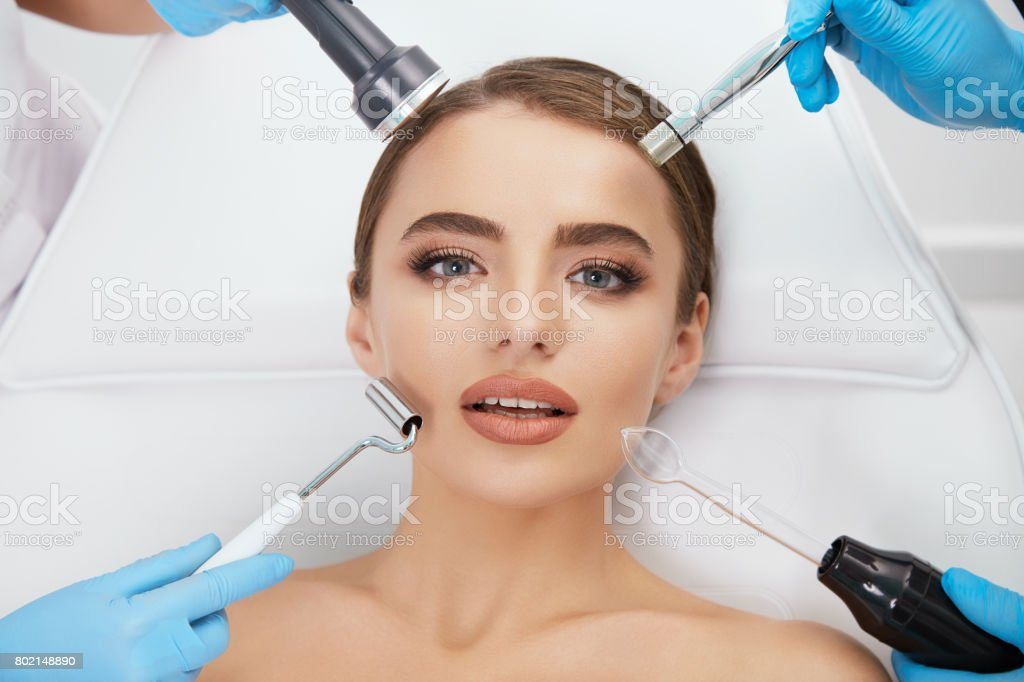 Cosmetological equipment  around model stock photo