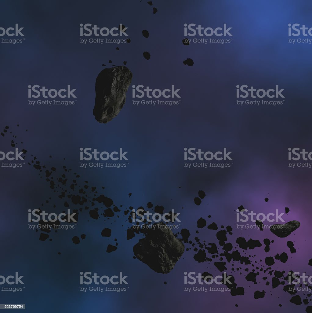 Cosmic background and asteroids. stock photo