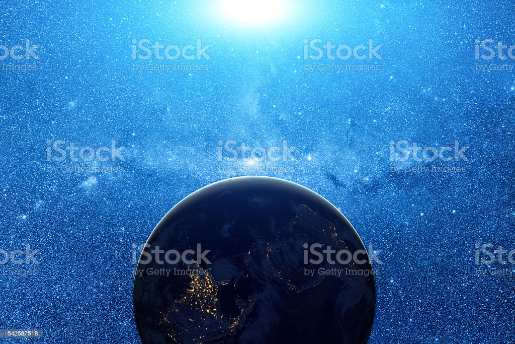 Cosmic background and Planet stock photo