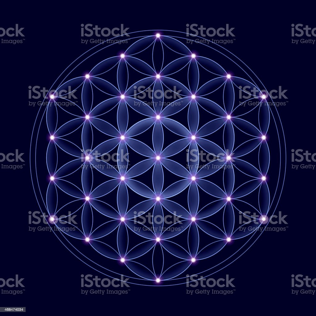 Cosmic Flower of Life With Stars stock photo