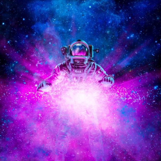 Cosmic light astronaut stock photo