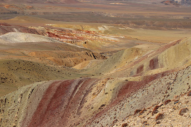 Cosmic Martian mountain landscape. Altay mountains. Tchagan Uzun stock photo