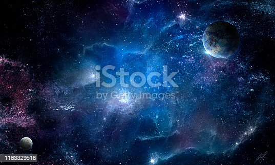 Cosmic nebula and the shining stars, abstract space illustration