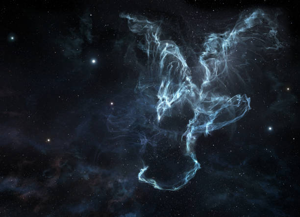 Cosmic nebula with a dragon shape A picture of dragon-shaped nebula on the starry sky dragon stock pictures, royalty-free photos & images