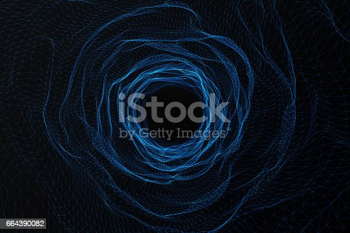istock Cosmic wormhole, space travel concept, funnel-shaped tunnel that can connect one universe with another. 3d rendering 664390082