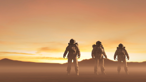 Cosmonauts exploring remote planet