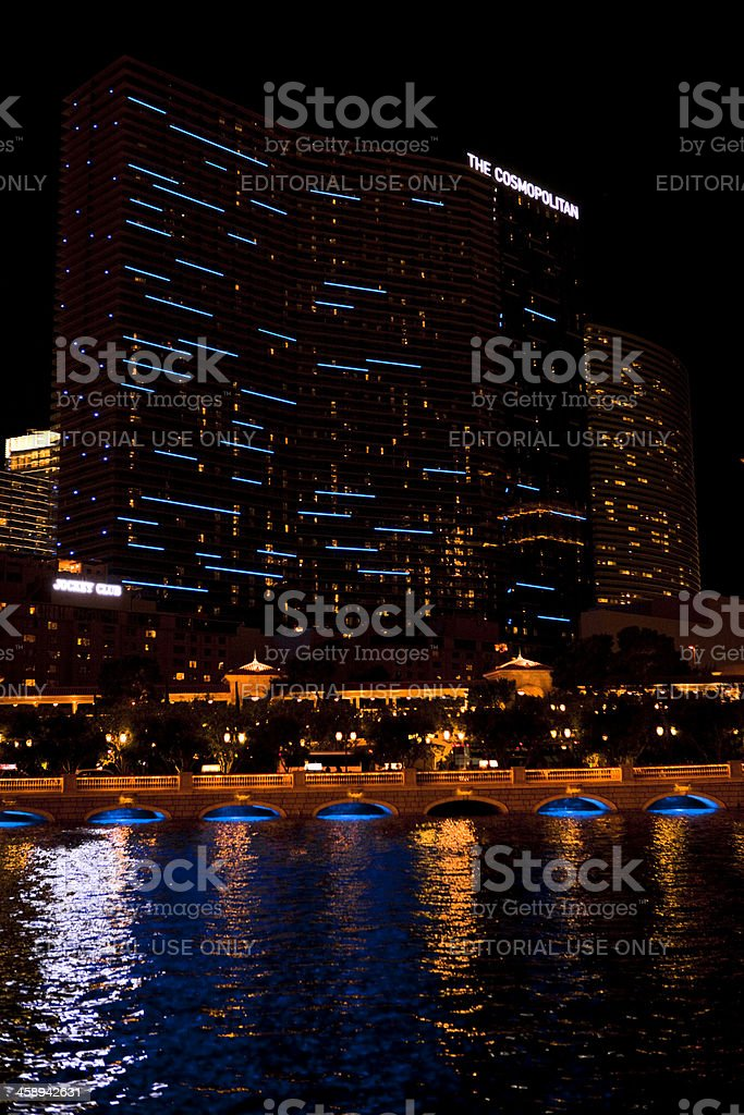 Cosmopolitan Hotel and Casino Nighttime stock photo