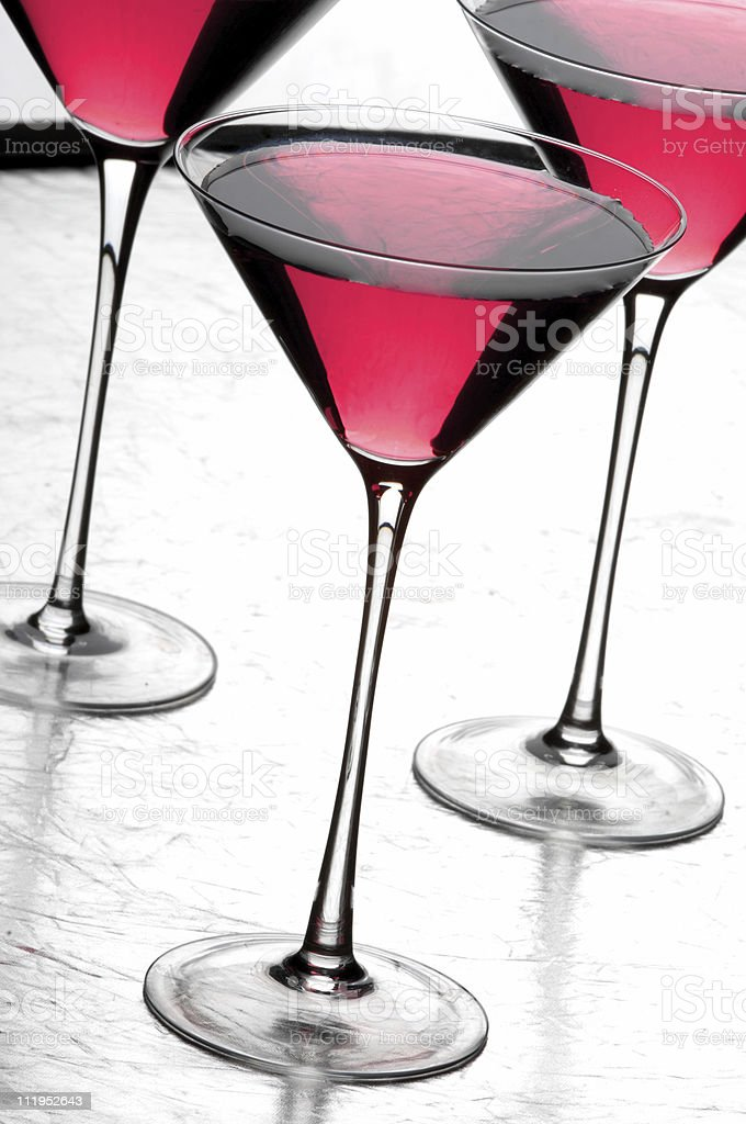 Cosmopolitan Martini Cocktails on Silver Platter royalty-free stock photo