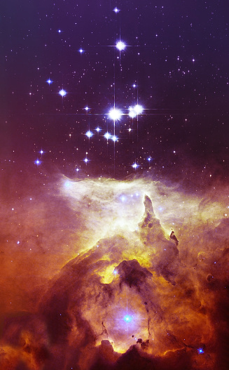Night sky with clouds stars nebula background. Elements of this image furnished by NASA.