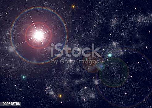 istock Cosmos Star Background Bright Star with Lens Flare 909698788