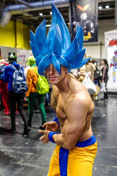 cosplay as character from dragon ball - manga style stock photos and pictures