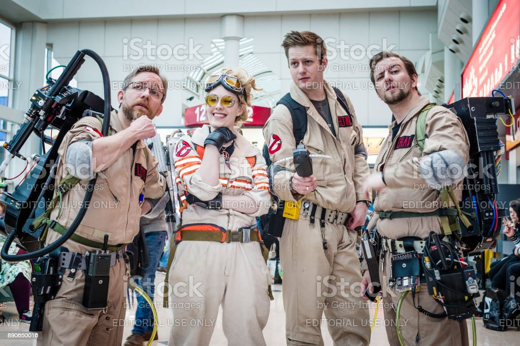 Cosplay as Ghostbusters characters stock photo