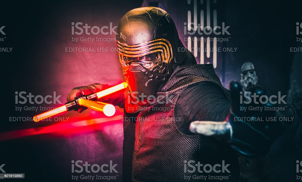 Cosplay as Kylo Ren from Star Wars stock photo