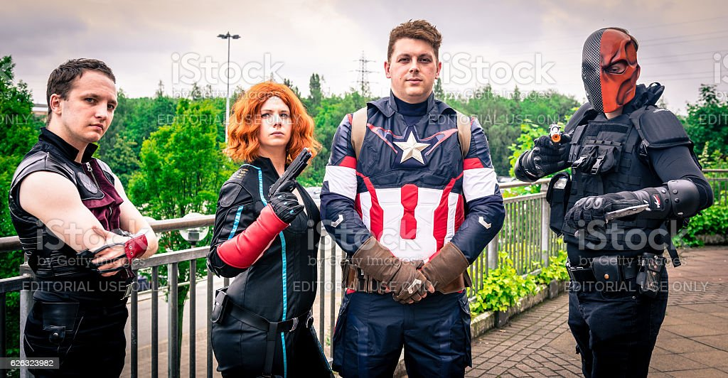 Cosplay as Marvel and DC Comics characters stock photo