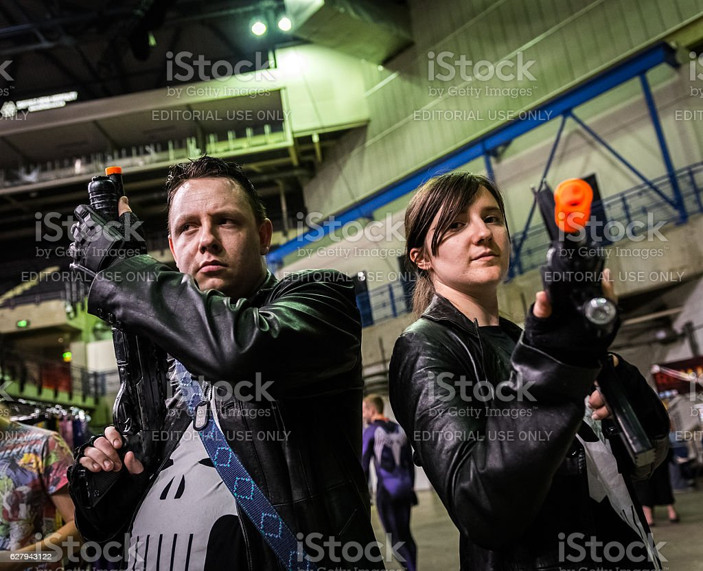 Cosplay as 'The Punisher' stock photo