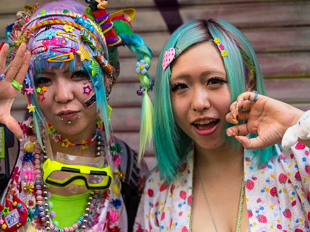 cosplay girls at harajuku'stakeshite street in tokyo - manga style stock photos and pictures