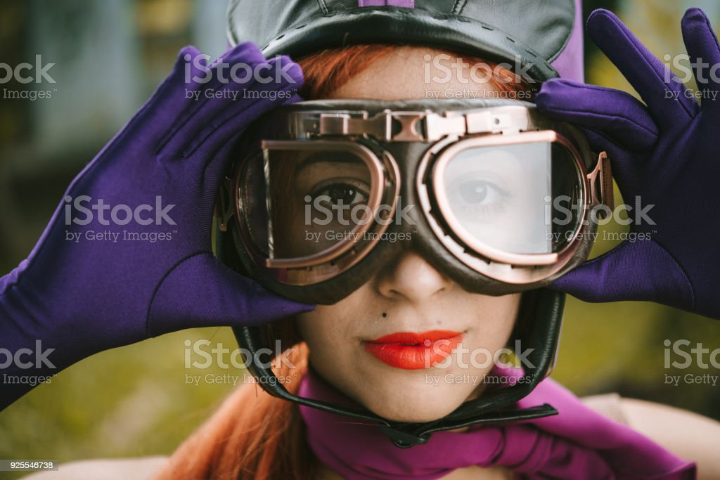 cosplay vintage young woman stock photo