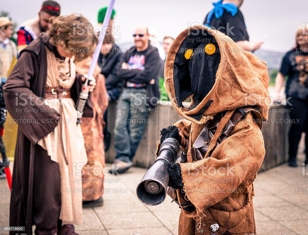 Cosplayer dressed as a 'Jawa' from 'Star Wars' stock photo